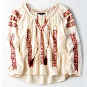 American Eagle Natural Embroidered Tassel Blouse
